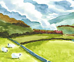 Watercolour Train by Gemma Roberts