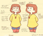 'Acorns' Amber and Spirit 'Autumn and Winter' Model Sheet / Turnaround by Gemma Roberts