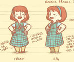 'Acorns' Amber and Spirit 'Spring and Summer' Model Sheet / Turnaround by Gemma Roberts